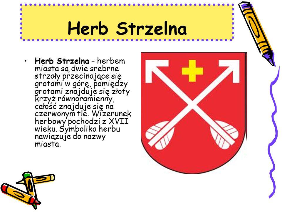 Herb Strzelna Herb Strzelna – herbem miasta są dwie srebrne strzały przecinające się grotami w górę, pomiędzy grotami znajduje się złoty krzyż równoramienny, całość znajduje się na czerwonym tle.