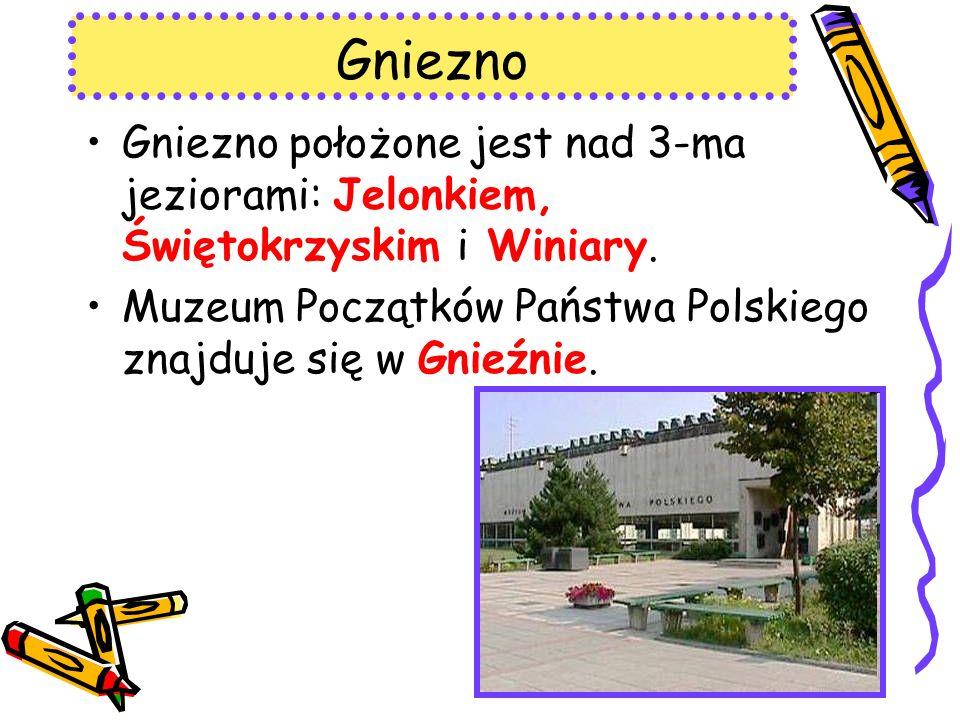 Gniezno Gniezno położone jest nad 3-ma jeziorami: Jelonkiem, Świętokrzyskim i Winiary.