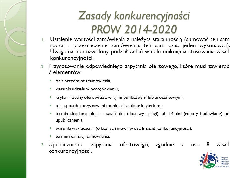 Zasady konkurencyjności PROW 2014-2020 1.