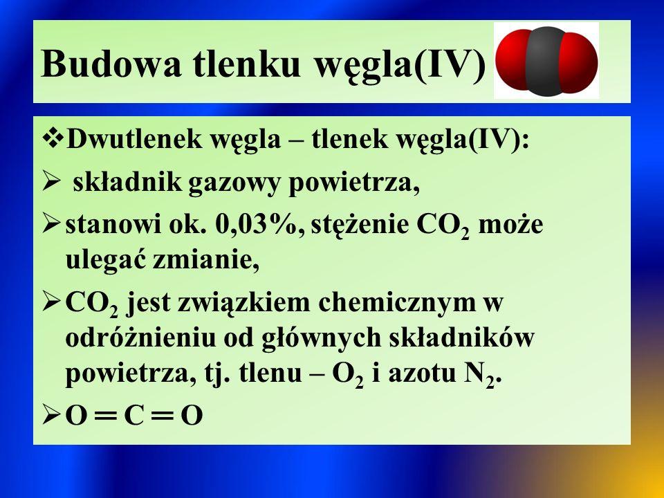 Otrzymywanie CO 2  Spalanie węgla i związków organicznych:  C + O 2  CO 2  CH 4 + 2 O 2  CO 2 + 2 H 2 O  Termiczny rozkład soli kwasu węglowego:  CaCO 3  CO 2 + CaO  2 NaHCO 3  CO 2 + Na 2 CO 3 + H 2 O  (NH 4 ) 2 CO 3  CO 2 + 2NH 3 + H 2 O  Wypieranie CO 2 z soli kwasu węglowego przez kwasy mocniejsze  CaCO 3 + 2 HCl  CaCl 2 + CO 2 + H 2 O  Na 2 CO 3 + 2 HCl  2NaCl + CO 2 + H 2 O  Fermentacja alkoholowa cukrów:  C 6 H 12 O 6  2 C 2 H 5 OH + 2 CO 2