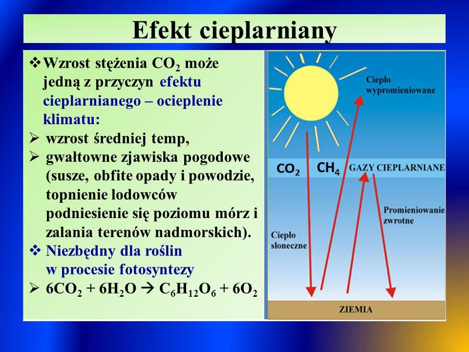 Zastosowanie CO 2  Produkcja napojów gazowanych  W produkcji szklarniowej do podniesienia natężenia fotosyntezy  Przetwórstwo spożywcze (skroplony: T t = - 56 o C ) – głębokie mrożenie warzyw, owoców i ich przetworów, usuwania tłuszczów z smażonych potraw  Przemysł chłodniczy (suchy lód, T sub.