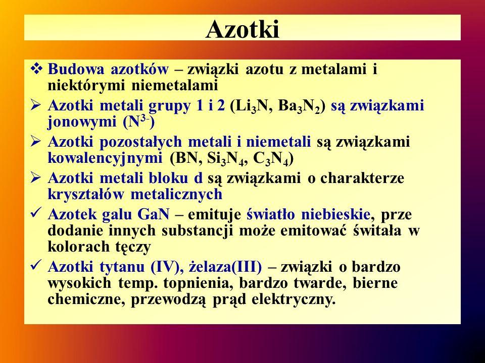 Azotki  Budowa azotków – związki azotu z metalami i niektórymi niemetalami  Azotki metali grupy 1 i 2 (Li 3 N, Ba 3 N 2 ) są związkami jonowymi (N 3