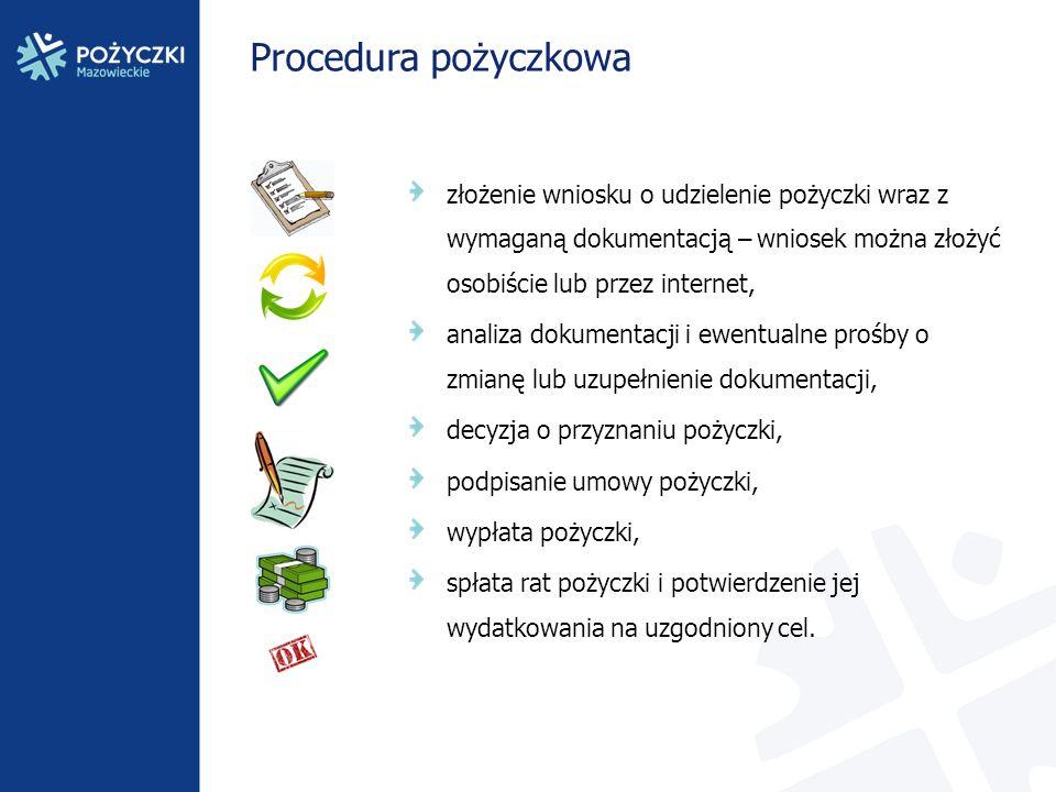 Procedura pożyczkowa złożenie wniosku o udzielenie pożyczki wraz z wymaganą dokumentacją – wniosek można złożyć osobiście lub przez internet, analiza