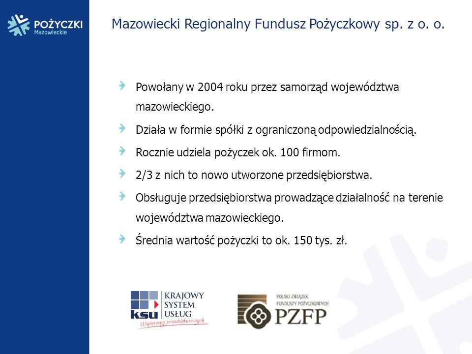 Mazowiecki Regionalny Fundusz Pożyczkowy sp. z o. o. Powołany w 2004 roku przez samorząd województwa mazowieckiego. Działa w formie spółki z ograniczo