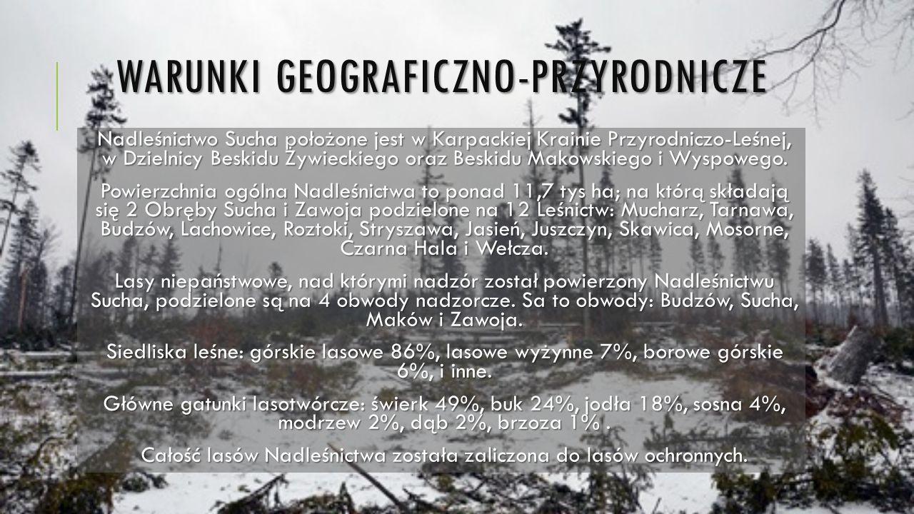 WARUNKI GEOGRAFICZNO-PRZYRODNICZE Nadleśnictwo Sucha położone jest w Karpackiej Krainie Przyrodniczo-Leśnej, w Dzielnicy Beskidu Żywieckiego oraz Besk