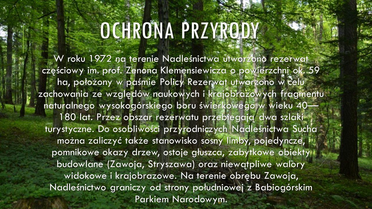 OCHRONA PRZYRODY W roku 1972 na terenie Nadleśnictwa utworzono rezerwat częściowy im. prof. Zenona Klemensiewicza o powierzchni ok. 59 ha, położony w