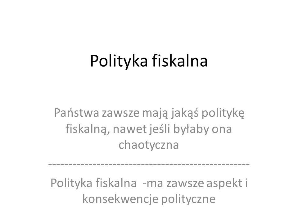 Polityka fiskalna Państwa zawsze mają jakąś politykę fiskalną, nawet jeśli byłaby ona chaotyczna -------------------------------------------------- Polityka fiskalna -ma zawsze aspekt i konsekwencje polityczne
