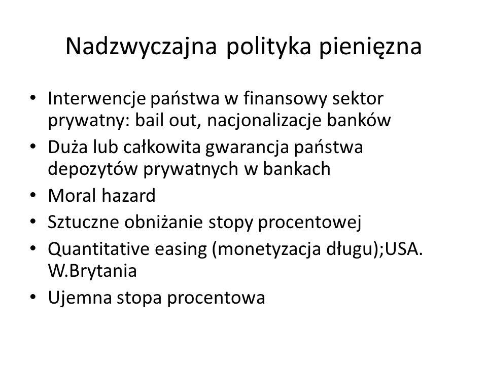 Nadzwyczajna polityka pienięzna Interwencje państwa w finansowy sektor prywatny: bail out, nacjonalizacje banków Duża lub całkowita gwarancja państwa depozytów prywatnych w bankach Moral hazard Sztuczne obniżanie stopy procentowej Quantitative easing (monetyzacja długu);USA.