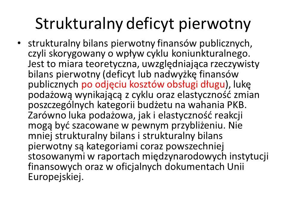 Strukturalny deficyt pierwotny strukturalny bilans pierwotny finansów publicznych, czyli skorygowany o wpływ cyklu koniunkturalnego.
