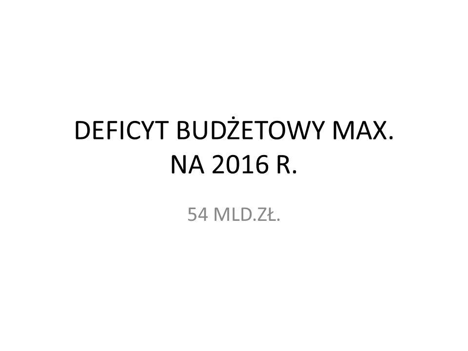 DEFICYT BUDŻETOWY MAX. NA 2016 R. 54 MLD.ZŁ.