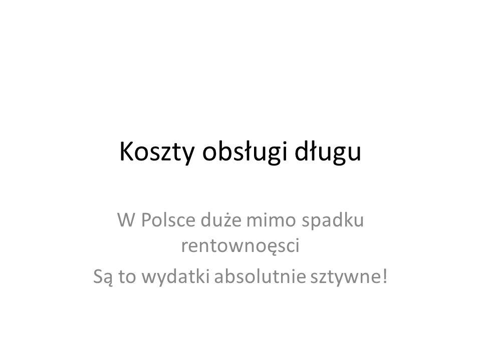 Koszty obsługi długu W Polsce duże mimo spadku rentownoęsci Są to wydatki absolutnie sztywne!
