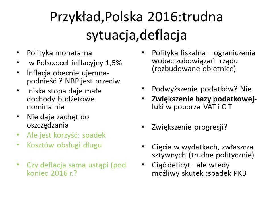 Przykład,Polska 2016:trudna sytuacja,deflacja Polityka monetarna w Polsce:cel inflacyjny 1,5% Inflacja obecnie ujemna- podnieść .