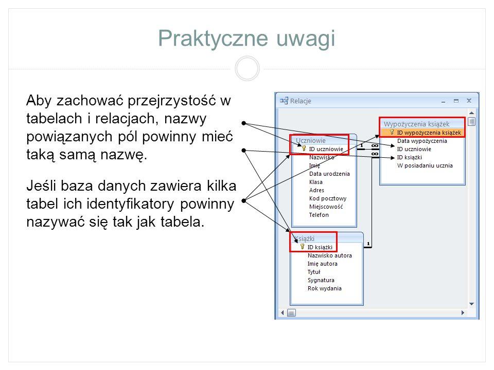 Praktyczne uwagi Aby zachować przejrzystość w tabelach i relacjach, nazwy powiązanych pól powinny mieć taką samą nazwę. Jeśli baza danych zawiera kilk