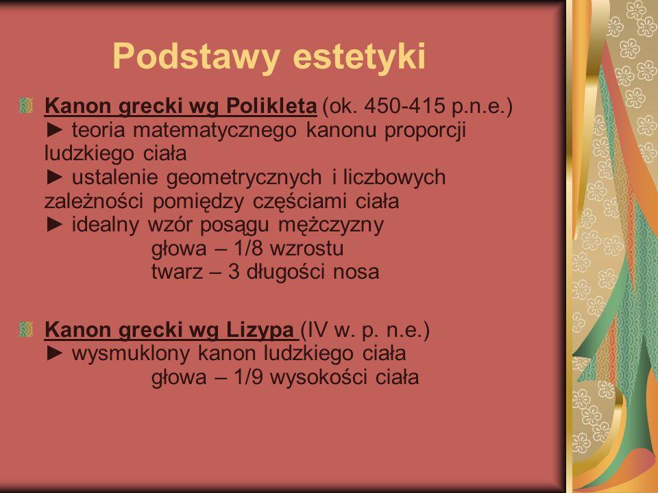 Podstawy estetyki Kanon grecki wg Polikleta (ok. 450-415 p.n.e.) ► teoria matematycznego kanonu proporcji ludzkiego ciała ► ustalenie geometrycznych i