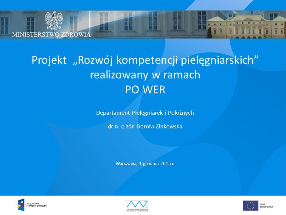 """Projekt """"Rozwój kompetencji pielęgniarskich"""" realizowany w ramach PO WER Departament Pielęgniarek i Położnych dr n. o zdr. Dorota Zinkowska Warszawa,"""