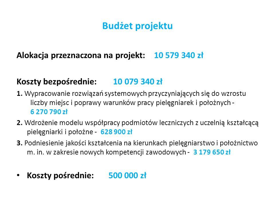 Budżet projektu Alokacja przeznaczona na projekt: 10 579 340 zł Koszty bezpośrednie: 10 079 340 zł 1. Wypracowanie rozwiązań systemowych przyczyniając