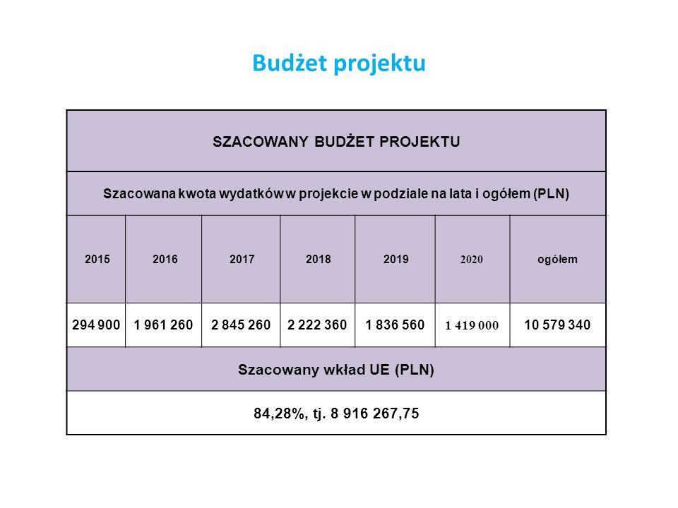 Budżet projektu SZACOWANY BUDŻET PROJEKTU Szacowana kwota wydatków w projekcie w podziale na lata i ogółem (PLN) 2015 2016 2017 2018 2019 2020 ogółem