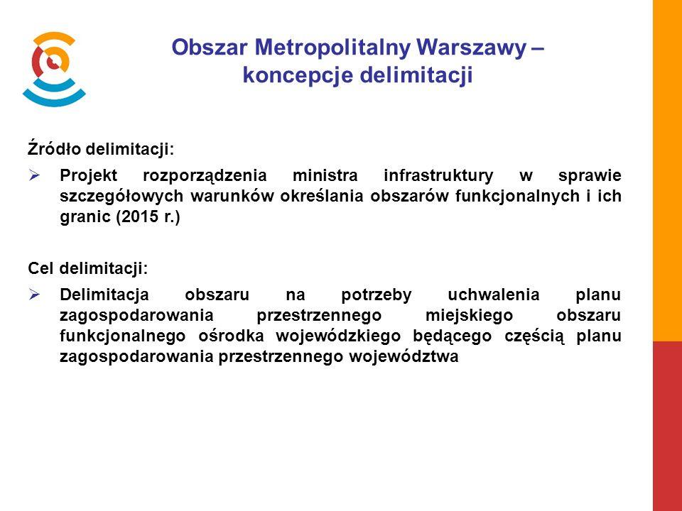 Obszar Metropolitalny Warszawy – koncepcje delimitacji Źródło delimitacji:  Projekt rozporządzenia ministra infrastruktury w sprawie szczegółowych warunków określania obszarów funkcjonalnych i ich granic (2015 r.) Cel delimitacji:  Delimitacja obszaru na potrzeby uchwalenia planu zagospodarowania przestrzennego miejskiego obszaru funkcjonalnego ośrodka wojewódzkiego będącego częścią planu zagospodarowania przestrzennego województwa