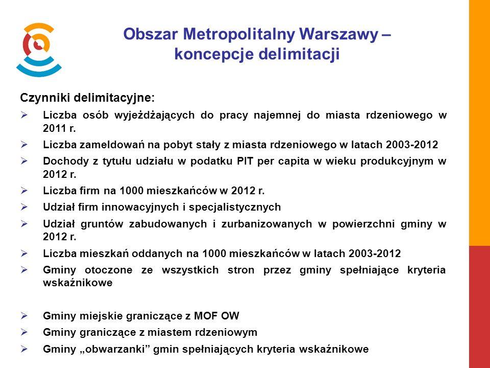 Obszar Metropolitalny Warszawy – koncepcje delimitacji Czynniki delimitacyjne:  Liczba osób wyjeżdżających do pracy najemnej do miasta rdzeniowego w 2011 r.
