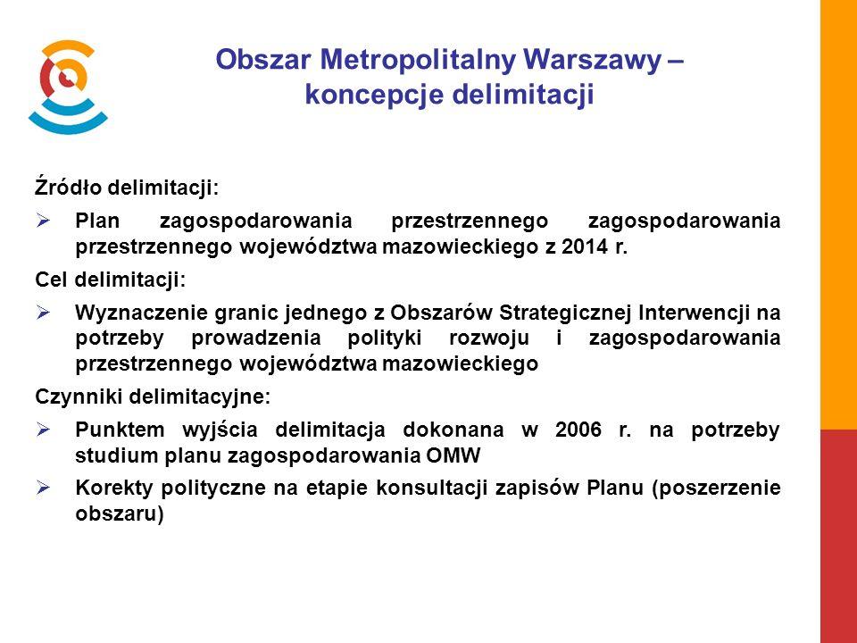 Obszar Metropolitalny Warszawy – koncepcje delimitacji Źródło delimitacji:  Plan zagospodarowania przestrzennego zagospodarowania przestrzennego województwa mazowieckiego z 2014 r.