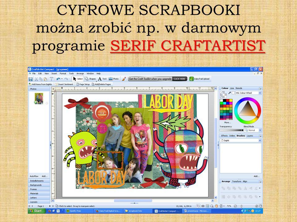 SERIF CRAFTARTIST CYFROWE SCRAPBOOKI można zrobić np. w darmowym programie SERIF CRAFTARTIST