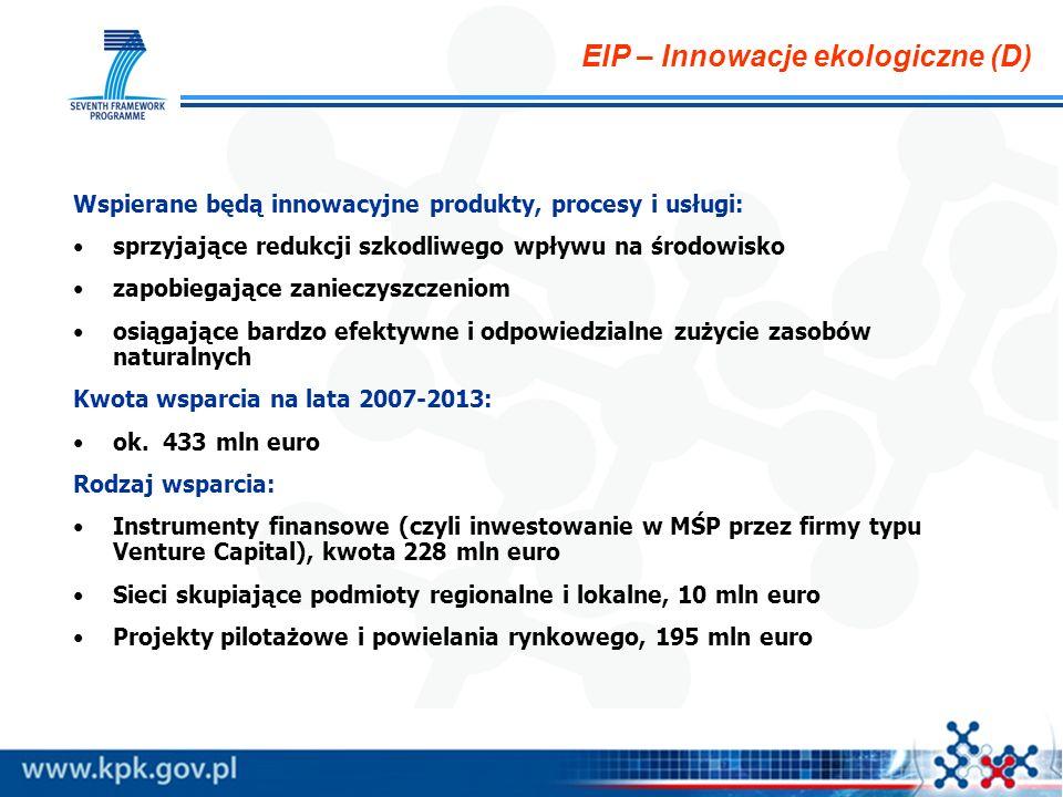 EIP – Innowacje ekologiczne (D) Wspierane będą innowacyjne produkty, procesy i usługi: sprzyjające redukcji szkodliwego wpływu na środowisko zapobiegające zanieczyszczeniom osiągające bardzo efektywne i odpowiedzialne zużycie zasobów naturalnych Kwota wsparcia na lata 2007-2013: ok.