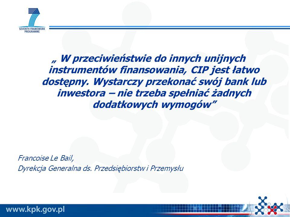 EIP - CELE PROGRAMU ułatwienie dostępu do finansowania przeznaczonego na rozpoczęcie i rozwój działalności MSP i zachęcenie do inwestycji w innowacyjne przedsięwzięcia, w tym przedsięwzięcia eko-innowacyjne (A), tworzenie środowiska sprzyjającego kooperacji wśród MSP, zwłaszcza w obszarze współpracy zagranicznej (B), promowanie wszelkich form innowacji (C), innowacje ekologiczne (D), promocja kultury przedsiębiorczości i innowacji (E), promocja i wspieranie reform administracyjnych i gospodarczych związanych z przedsiębiorczością i innowacyjnością (F).
