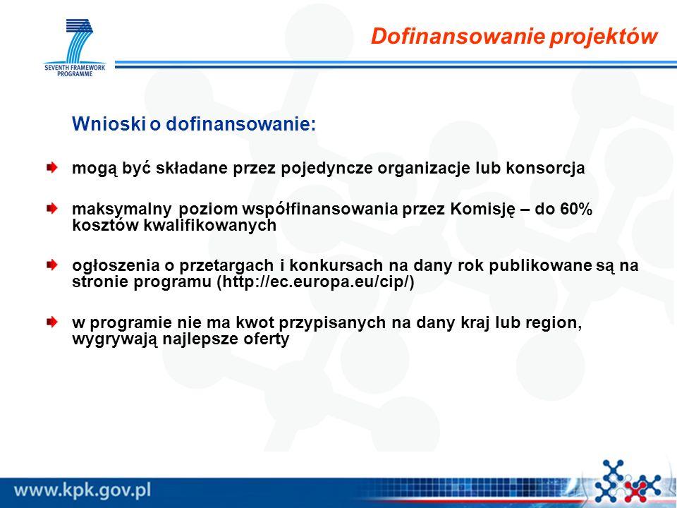 Dofinansowanie projektów Wnioski o dofinansowanie: mogą być składane przez pojedyncze organizacje lub konsorcja maksymalny poziom współfinansowania przez Komisję – do 60% kosztów kwalifikowanych ogłoszenia o przetargach i konkursach na dany rok publikowane są na stronie programu (http://ec.europa.eu/cip/) w programie nie ma kwot przypisanych na dany kraj lub region, wygrywają najlepsze oferty