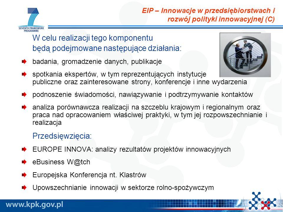 EIP – Innowacje w przedsiębiorstwach i rozwój polityki innowacyjnej (C) W celu realizacji tego komponentu będą podejmowane następujące działania: badania, gromadzenie danych, publikacje spotkania ekspertów, w tym reprezentujących instytucje publiczne oraz zainteresowane strony, konferencje i inne wydarzenia podnoszenie świadomości, nawiązywanie i podtrzymywanie kontaktów analiza porównawcza realizacji na szczeblu krajowym i regionalnym oraz praca nad opracowaniem właściwej praktyki, w tym jej rozpowszechnianie i realizacja Przedsięwzięcia: EUROPE INNOVA: analizy rezultatów projektów innowacyjnych eBusiness W@tch Europejska Konferencja nt.