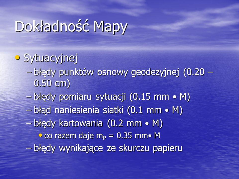 Dokładność Mapy Sytuacyjnej Sytuacyjnej –błędy punktów osnowy geodezyjnej (0.20 – 0.50 cm) –błędy pomiaru sytuacji (0.15 mm M) –błąd naniesienia siatk