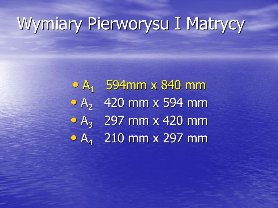 Wymiary Pierworysu I Matrycy A 1 594mm x 840 mm A 1 594mm x 840 mm A 2 420 mm x 594 mm A 2 420 mm x 594 mm A 3 297 mm x 420 mm A 3 297 mm x 420 mm A 4