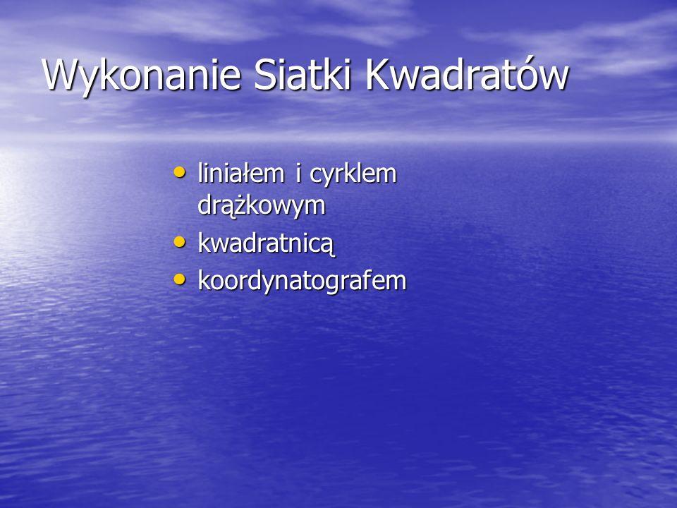 Wykonanie Siatki Kwadratów liniałem i cyrklem drążkowym liniałem i cyrklem drążkowym kwadratnicą kwadratnicą koordynatografem koordynatografem