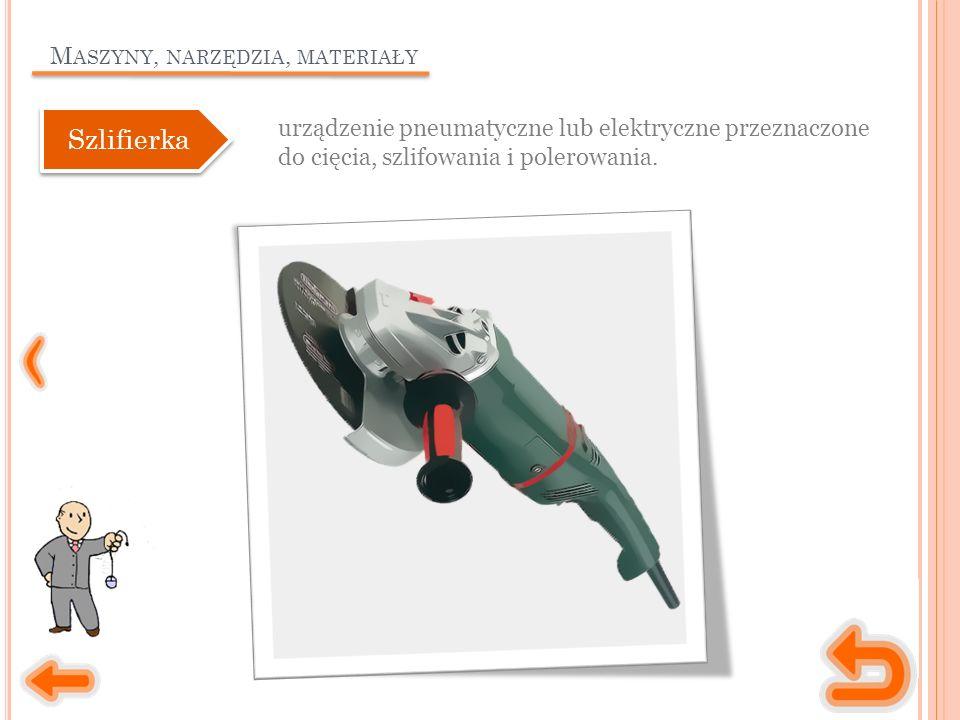 M ASZYNY, NARZĘDZIA, MATERIAŁY urządzenie pneumatyczne lub elektryczne przeznaczone do cięcia, szlifowania i polerowania. Szlifierka