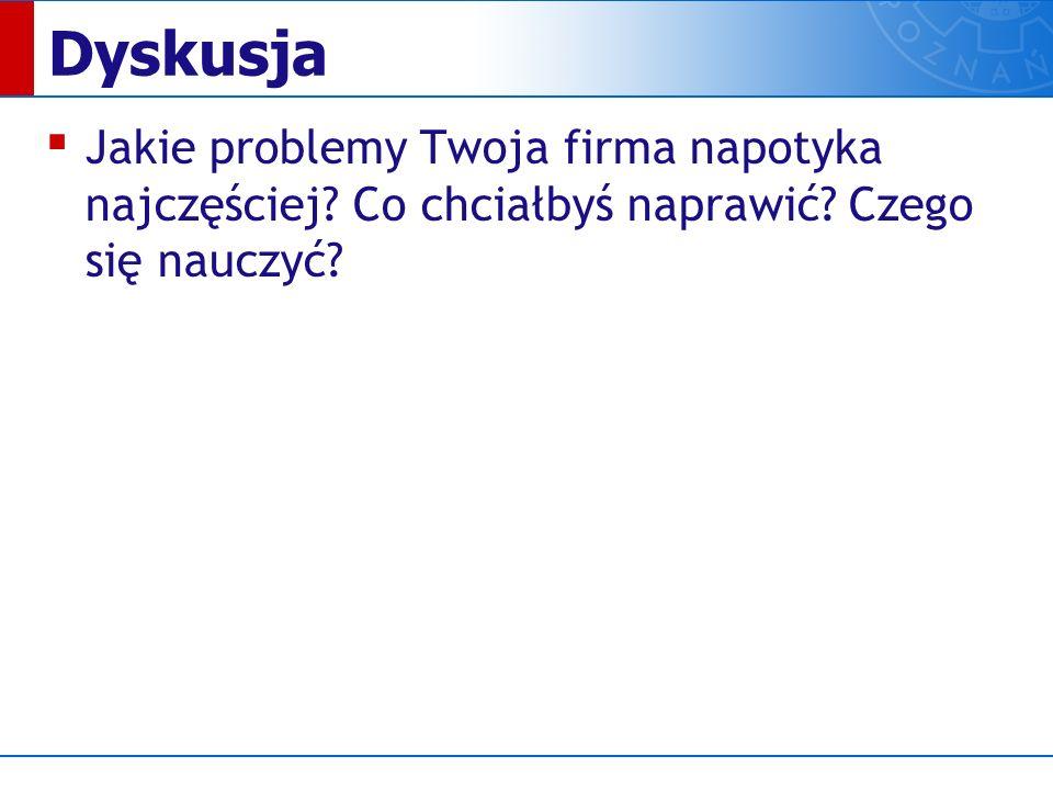 Dyskusja ▪ Jakie problemy Twoja firma napotyka najczęściej.