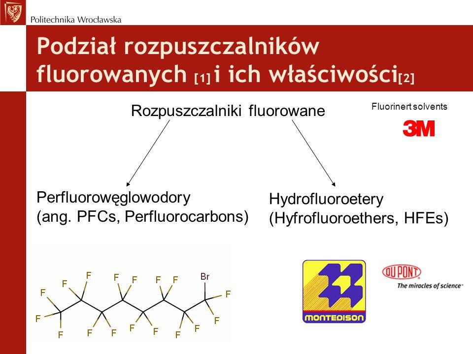 Właściwości rozpuszczalników fluorowanych [3] nietoksyczne, brak barwy i zapachu, nie odpowiedzialne za efekt cieplarniany [5], ciecze, o wysokiej gęstości, nie mieszają się z wodą i rozpuszczalnikami organicznymi (warunki normalne), mają dużą stabilność chemiczną i termiczną niska stała dielektryczna = nie polarne (apolarne) spełniają warunek Hildebrandta [5] - doskonałe warunki dla enzymów