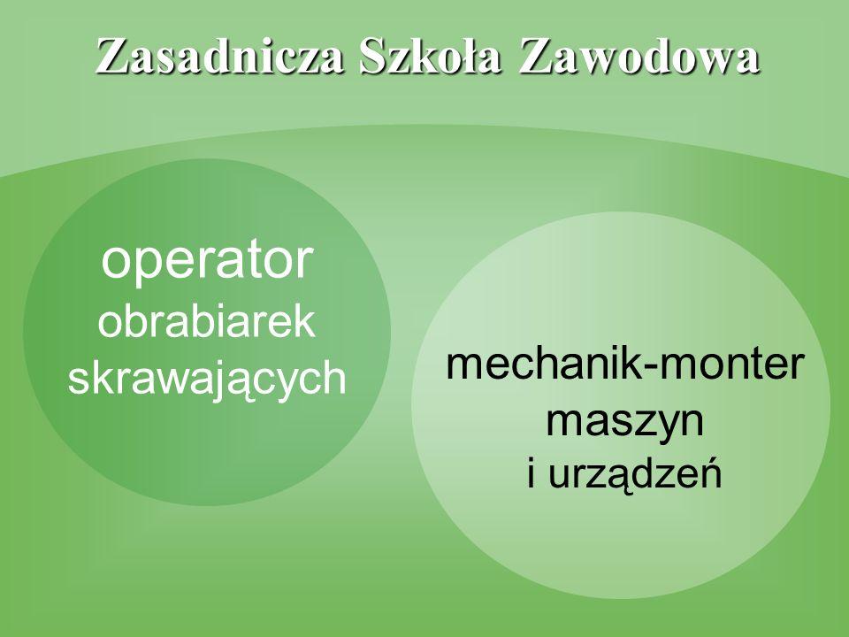 Zasadnicza Szkoła Zawodowa operator obrabiarek skrawających mechanik-monter maszyn i urządzeń
