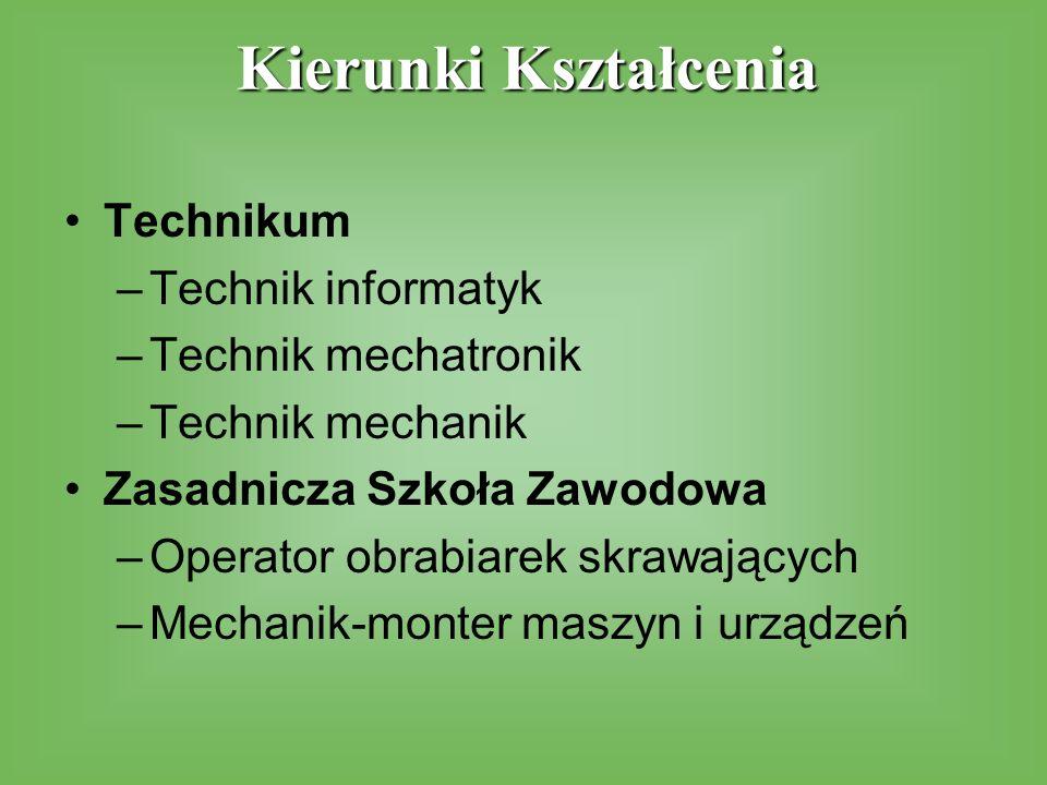 Technikum –Technik informatyk –Technik mechatronik –Technik mechanik Zasadnicza Szkoła Zawodowa –Operator obrabiarek skrawających –Mechanik-monter maszyn i urządzeń Kierunki Kształcenia