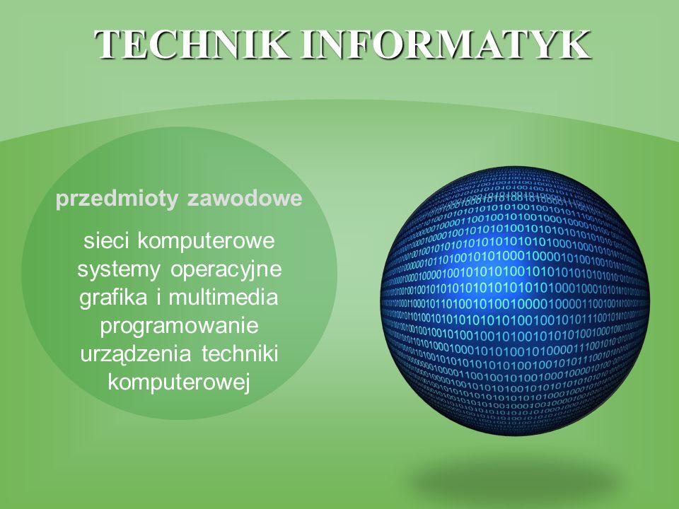 TECHNIK INFORMATYK przedmioty zawodowe sieci komputerowe systemy operacyjne grafika i multimedia programowanie urządzenia techniki komputerowej
