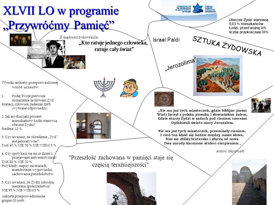 """XLVII LO w programie """"Przywróćmy Pamięć"""" Obecnie Żydzi stanowią 0,03 % mieszkańców Łodzi, przed wojną ich liczba przekraczała 30%"""