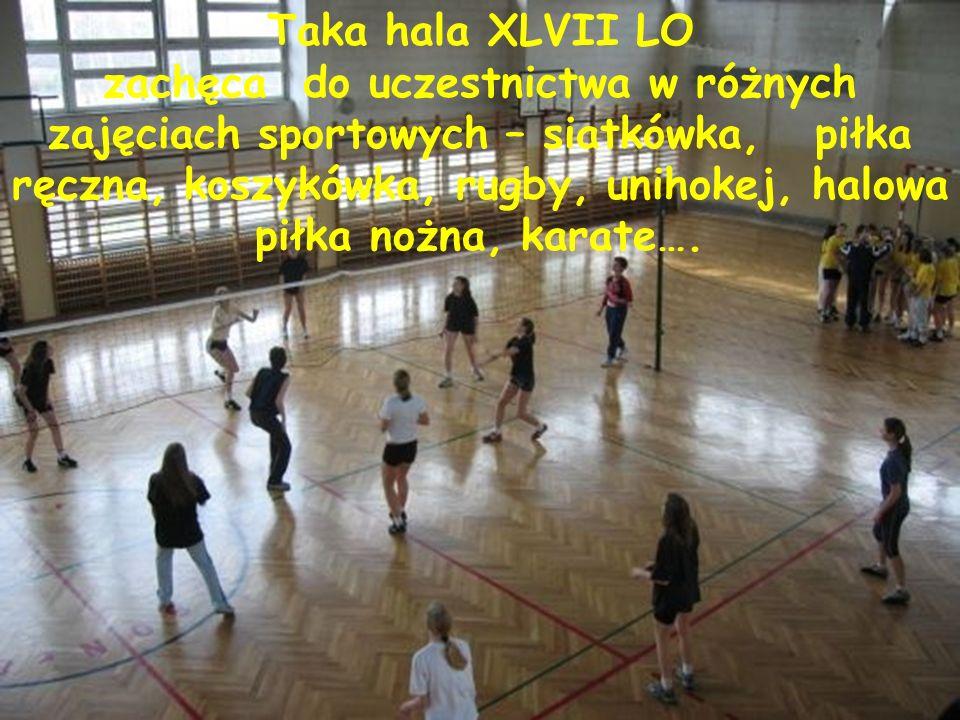Taka hala XLVII LO zachęca do uczestnictwa w różnych zajęciach sportowych – siatkówka, piłka ręczna, koszykówka, rugby, unihokej, halowa piłka nożna, karate….