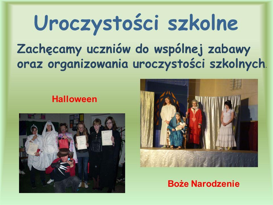 Uroczystości szkolne Halloween Zachęcamy uczniów do wspólnej zabawy oraz organizowania uroczystości szkolnych. Boże Narodzenie