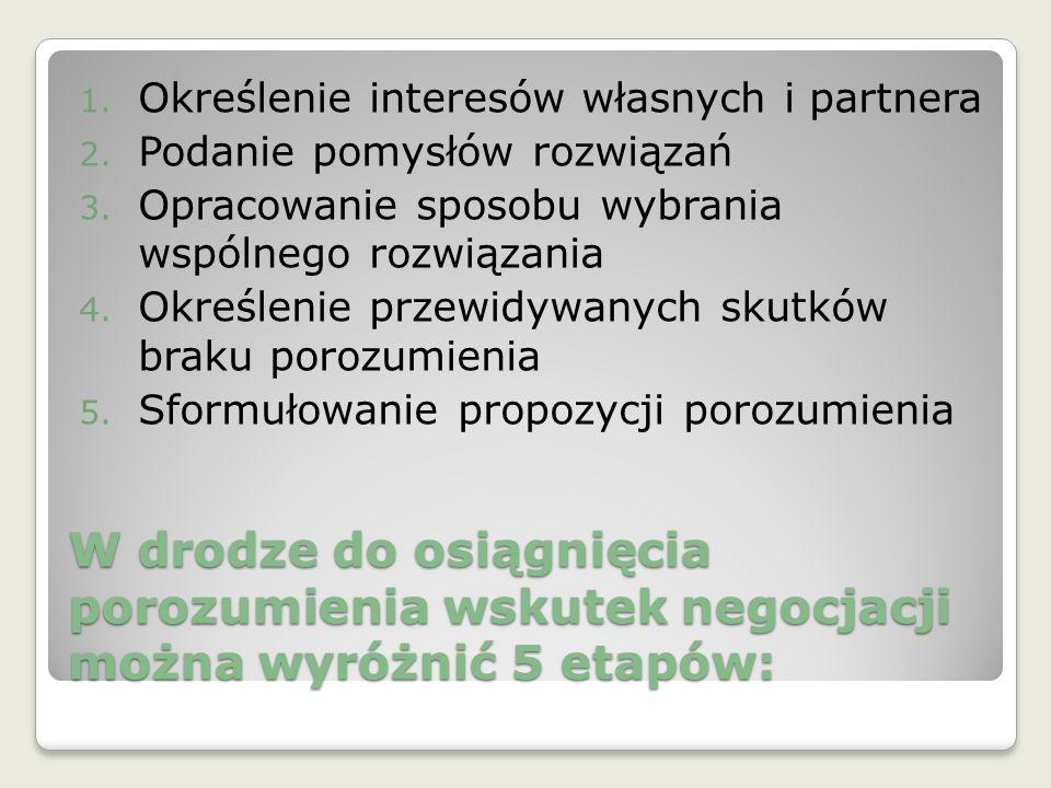 W drodze do osiągnięcia porozumienia wskutek negocjacji można wyróżnić 5 etapów: 1. Określenie interesów własnych i partnera 2. Podanie pomysłów rozwi