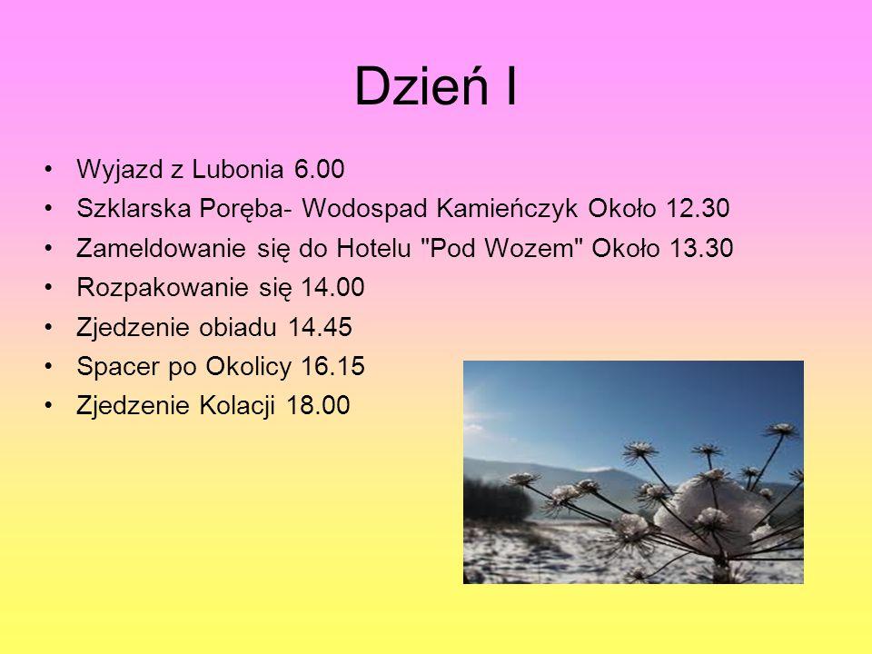 Dzień I Wyjazd z Lubonia 6.00 Szklarska Poręba- Wodospad Kamieńczyk Około 12.30 Zameldowanie się do Hotelu Pod Wozem Około 13.30 Rozpakowanie się 14.00 Zjedzenie obiadu 14.45 Spacer po Okolicy 16.15 Zjedzenie Kolacji 18.00