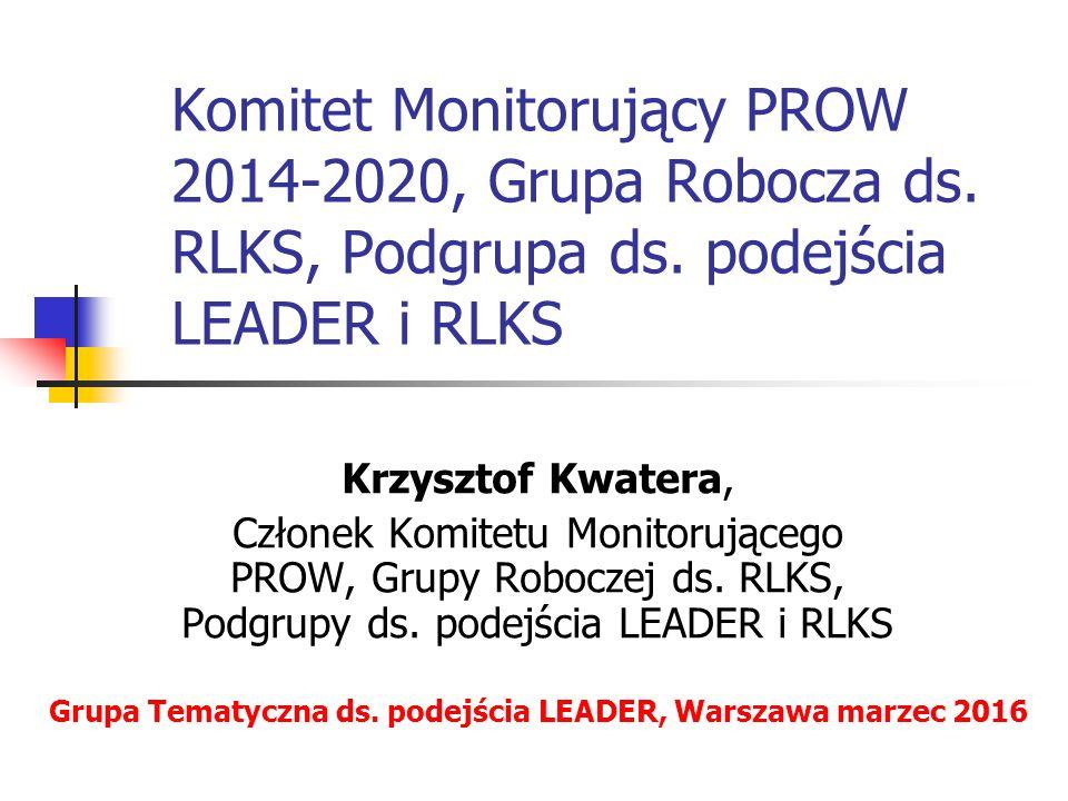 Struktury Program Rozwoju Obszarów Wiejskich 2014-2020 Komitet Monitorujący PROW 2014-2020 Grupa Robocza ds.