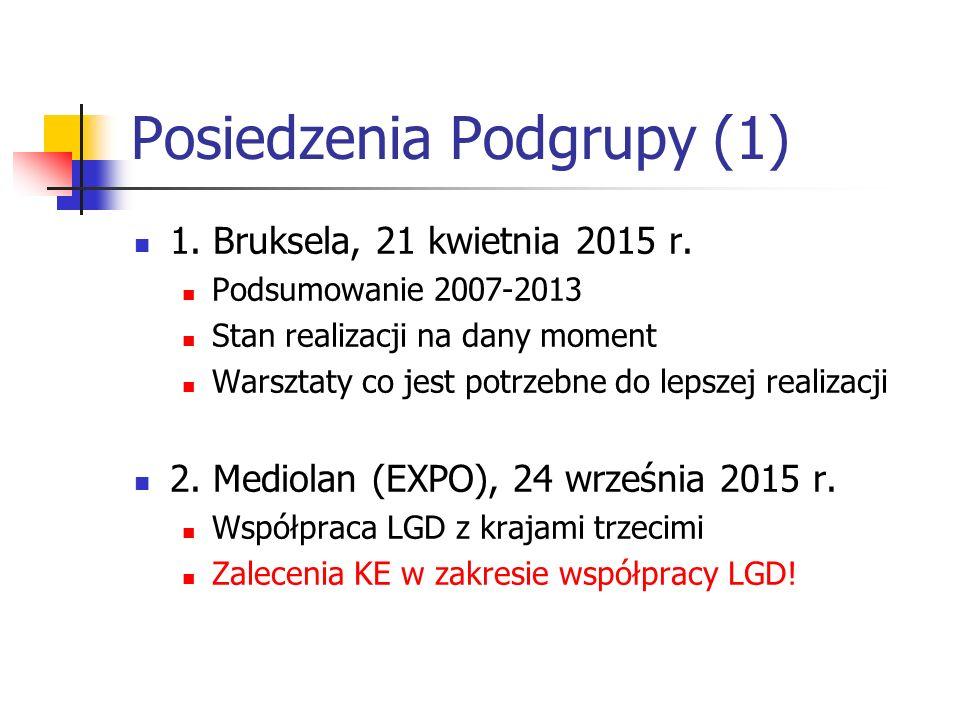 Posiedzenia Podgrupy (1) 1. Bruksela, 21 kwietnia 2015 r.