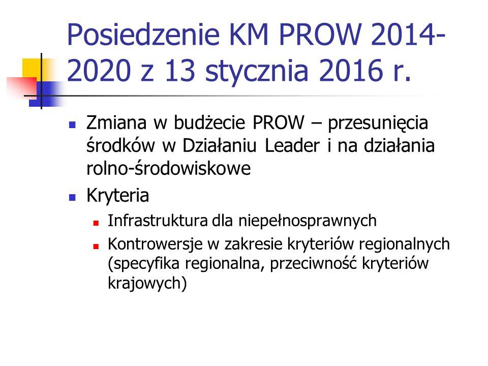 Posiedzenie KM PROW 2014- 2020 z 13 stycznia 2016 r.