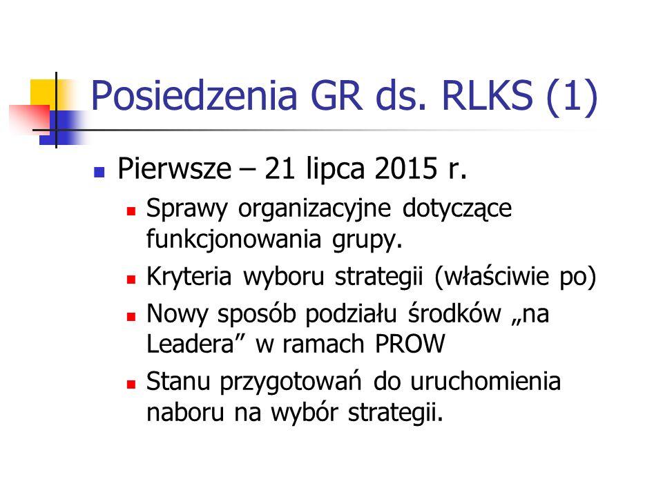 Posiedzenia GR ds. RLKS (1) Pierwsze – 21 lipca 2015 r.
