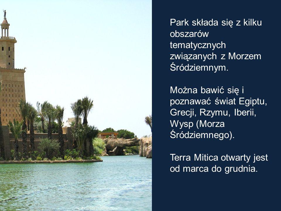 Park składa się z kilku obszarów tematycznych związanych z Morzem Śródziemnym.