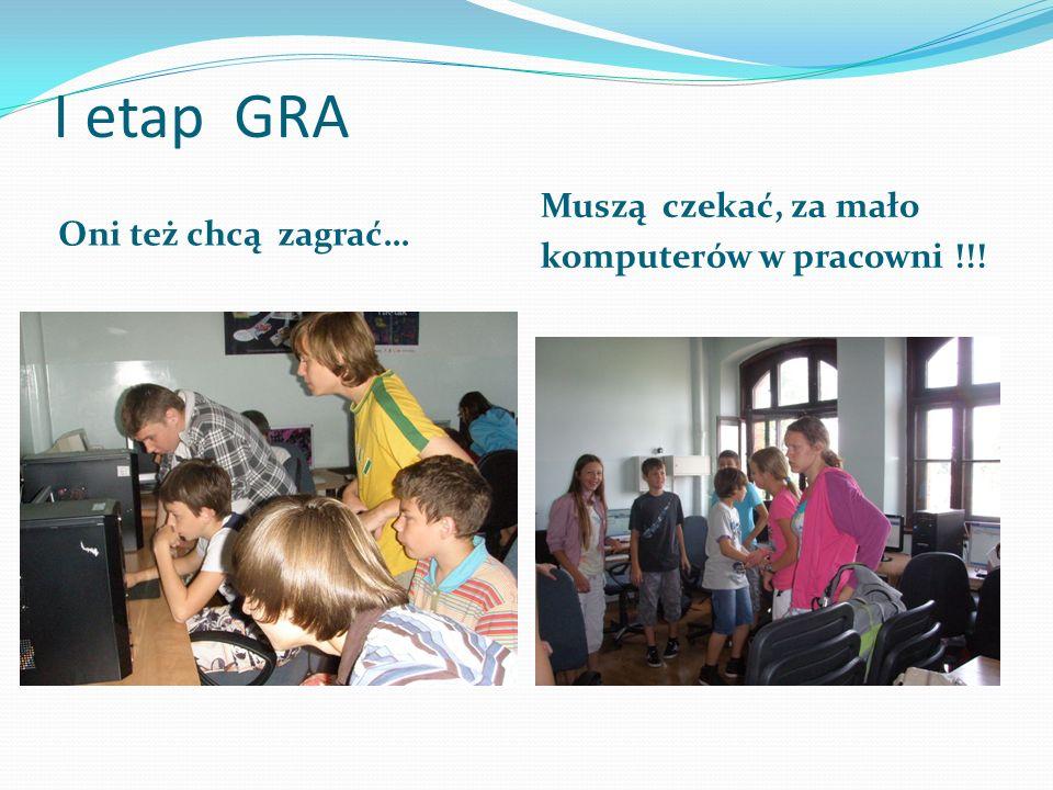 I etap GRA Oni też chcą zagrać… Muszą czekać, za mało komputerów w pracowni !!!