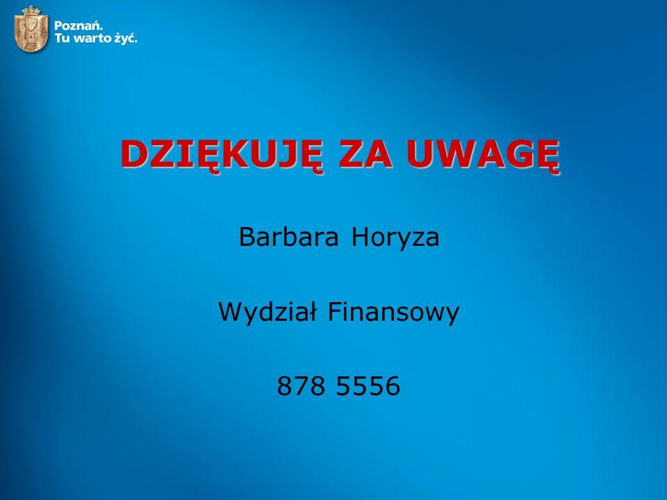 DZIĘKUJĘ ZA UWAGĘ Barbara Horyza Wydział Finansowy 878 5556